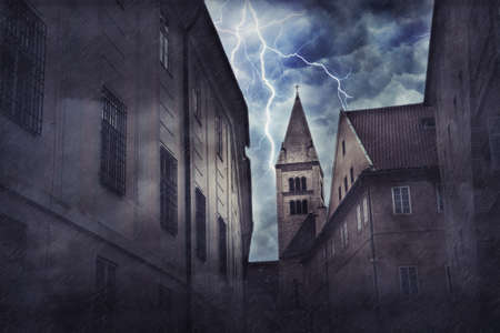 Heavy storm, rain and lighting in medieval town. Digital illustration Standard-Bild