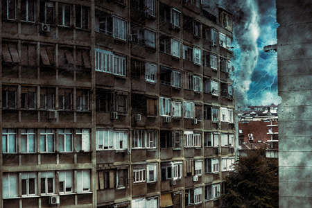 A tornado approaching to the residential building. Digital illustration