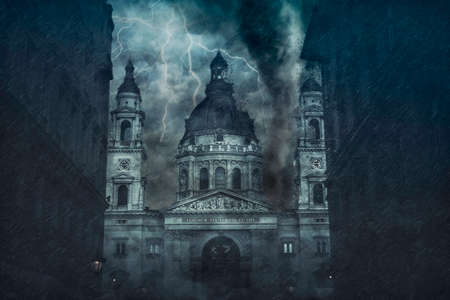Catholic basilica being destroyed by the hurricane during the storm. Digital illustration