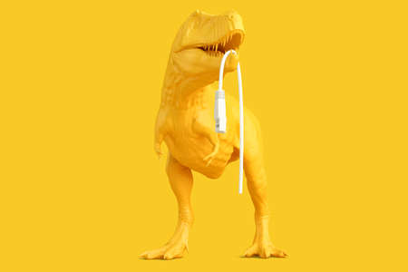 T-rex with bitten off piece of network cable. Technology concept. 3D rendering Standard-Bild