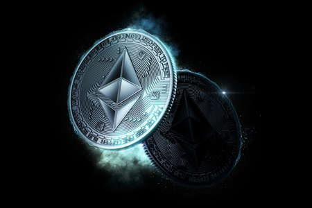 Shining Ethereum coin. 3D illustration Standard-Bild
