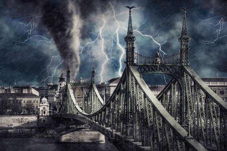 Apocalyptic Budapest cityscape with tornado, heavy rain and lighting. Digital illustration