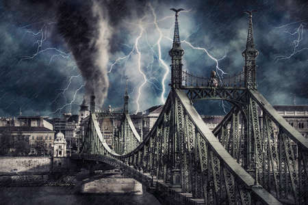 Apocalyptic Budapest cityscape with tornado, heavy rain and lighting. Digital illustration