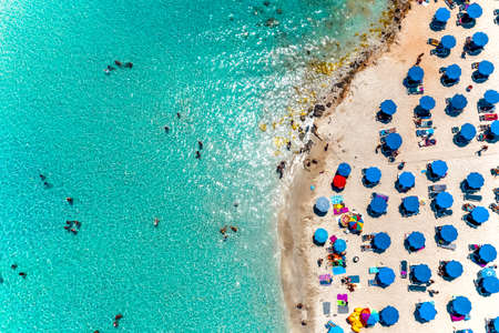 Aerial overhead view of popular Nissi bay beach. Famagusta District, cyprus