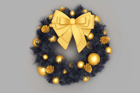 A decorated Christmas wreath with pine cones and bow. 3D rendering