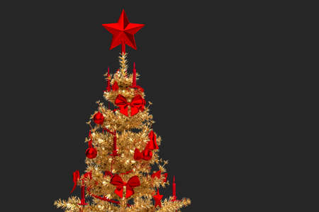 Close-up of a golden Christmas tree. 3D rendering 版權商用圖片