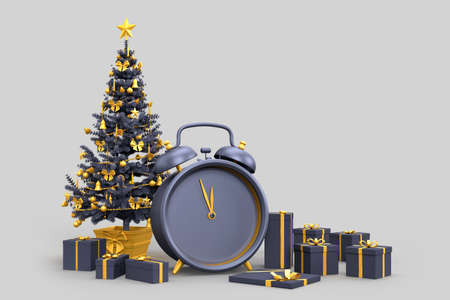 Christmas tree with gift boxes and an alarm clock shows midnight. 3D rendering
