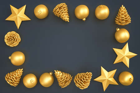 Christmas decorative elements forming rectangular frame. 3D rendering