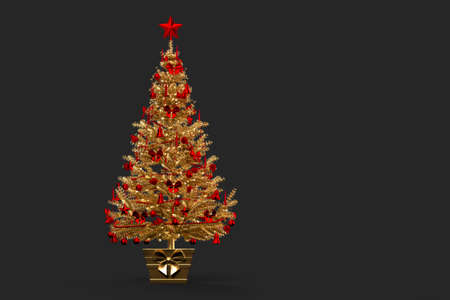 Gold coloured decorated Christmas tree. 3D rendering