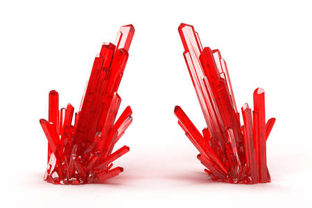 Red crystal mineral on white background. 3D rendering