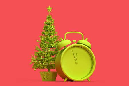 Minimalistic illustration of Christmas tree and an alarm clock. 3D rendering 版權商用圖片