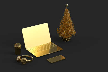 Laptop with Christmas tree and various gadgets. 3D rendering
