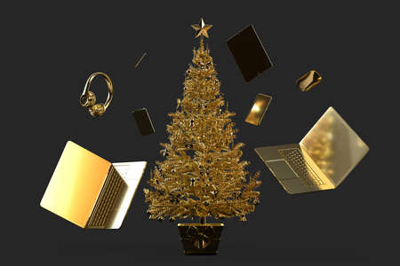 Christmas tree with various modern gadgets and accessories. 3D rendering
