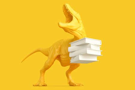 T-rex with Pile of books. 3D rendering 版權商用圖片