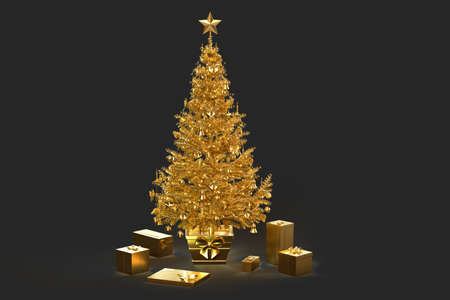 Decorated golden Christmas tree with gift boxes. 3D rendering 版權商用圖片
