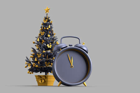 Decorated Christmas tree and alarm clock. 3D rendering