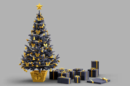 Decorated Christmas tree with gift boxes. 3D rendering 版權商用圖片