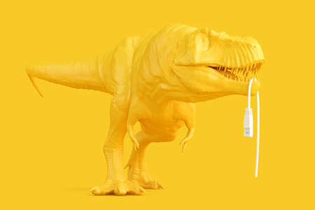 Tyrannosaurus with torn of network cable. Networking concept. 3D rendering