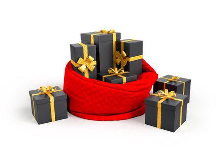 Open Santa's bag with presents. 3D rendering