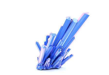 Natural raw blue crystal. 3D rendering