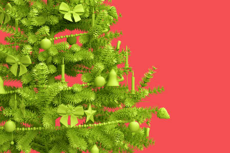 Close-up of decorated Christmas tree on pink background. 3D rendering