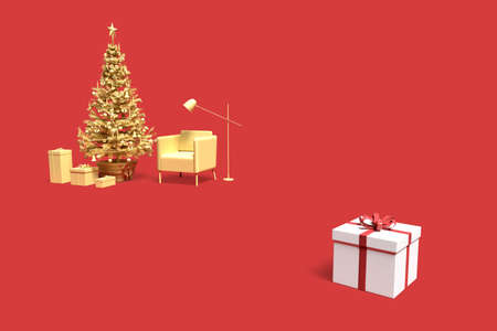 Minimalistic interior scene with Christmas tree and gift boxes. 3D rendering