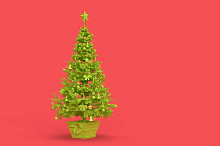 Light green decorated Christmas tree on pink background. 3D rendering