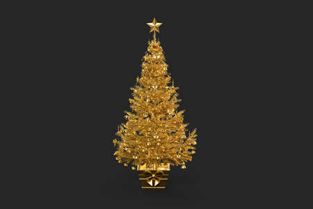Golden decorated christmas tree. 3D rendering