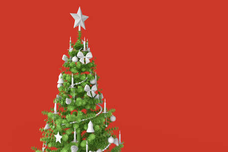 Decorated christmas tree close-up. 3D rendering