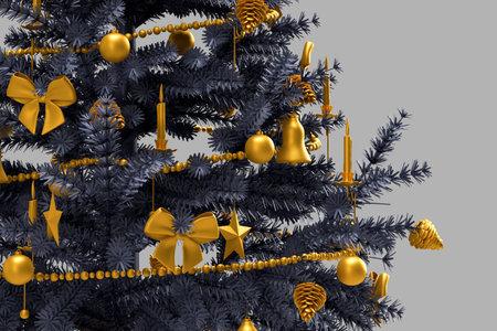 Close_up of decorated christmas tree. 3D rendering 版權商用圖片