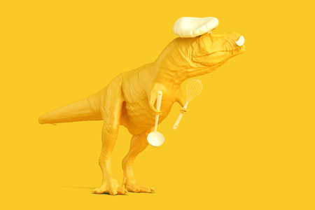 Tyrannosaurus cef with kitchen spoon and whisk. Networking concept. 3D rendering