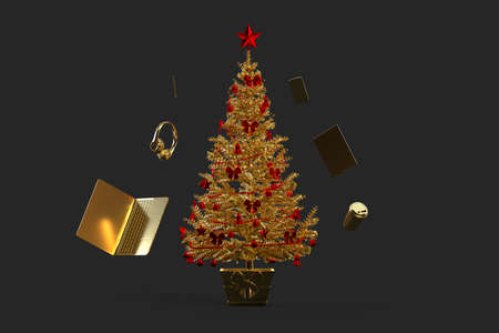 Golden decorated christmas tree with various gadgets. 3D rendering