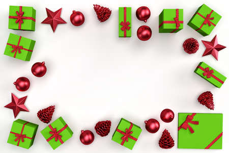 Christmas decorative elements and gift boxes forming rectangular frame. 3D rendering