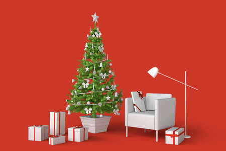 Room interior with decorated Christmas tree. 3D rendering