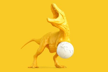 Tyrannosaurus with earth globe. 3D rendering 版權商用圖片