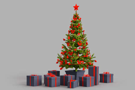 Christmas tree with presents gift boxes. 3D rendering 版權商用圖片