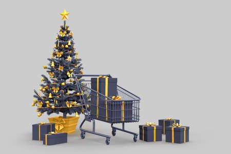 Christmas tree, gift boxes and shopping cart. 3D rendering