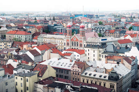 View of Pilsen, Czech Republic with the Great Synagogue.