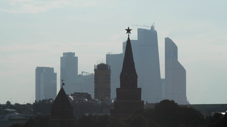 Tower Kremlin on a background of skyscrapers Moscow City Stok Fotoğraf