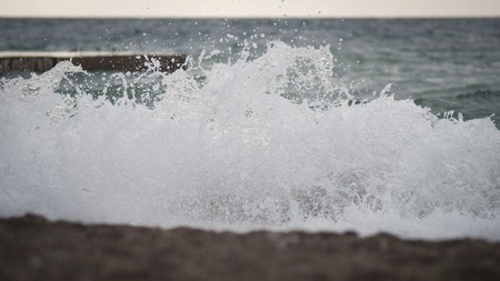 small storm on the coast of the Black Sea Stok Fotoğraf