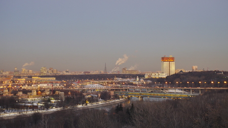beautiful panorama of winter Moscow