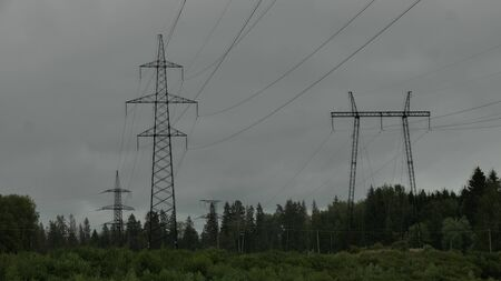 high voltage power lines in the field