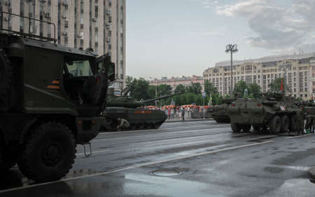 Moscow, RUSSIA - June 18, 2020: Rehearsal of the parade dedicated to the 75th anniversary of the Great Victory Editöryel