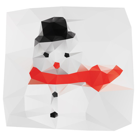 Colorful lowpoly triangulated illustration of snowman in windy weather