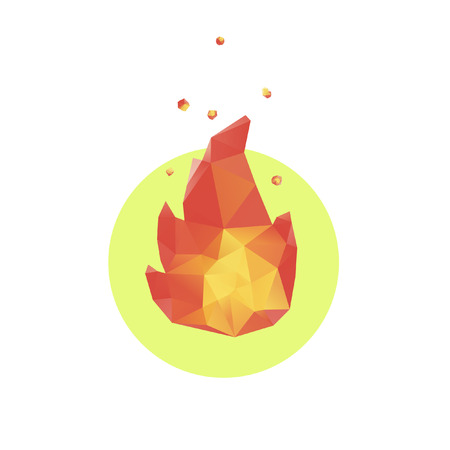 wildfire: Shiny vector polygonal fire illustration with sparkles Illustration