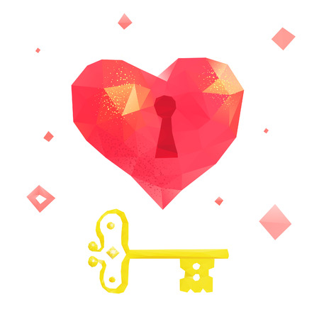 amore: Lowpoly illustration in original technique. Hearts made of polygons