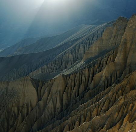 upper: Light in Upper Mustang. Nepal, Himalaya. Stock Photo