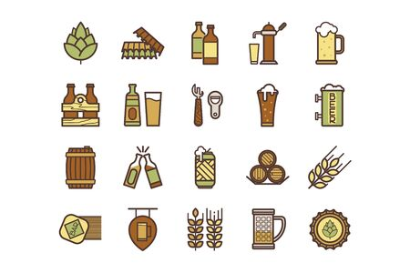 Beer icons set on beer theme
