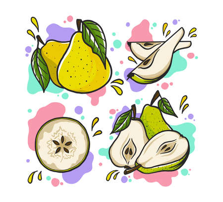 Juicy pear vector set. Cartoon illustration. Fresh and bright pears
