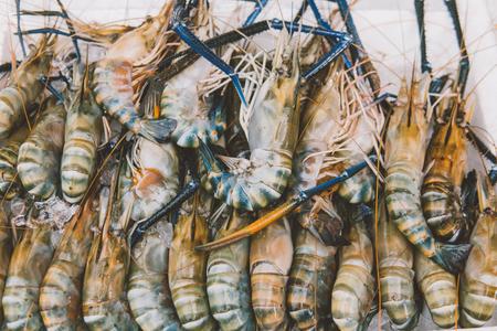 prawn on local market  close-up shallow focus